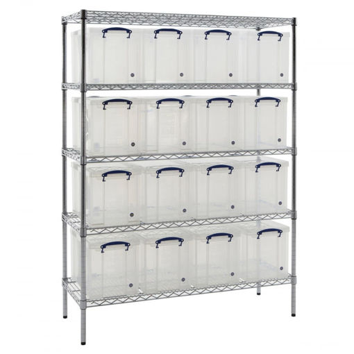 Picture of Chrome Wire Shelving With 24 Litre Capacity Really Useful Boxes