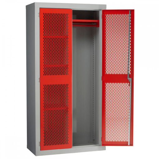 Picture of Mesh Door Storage Cabinets With Hanging Rail