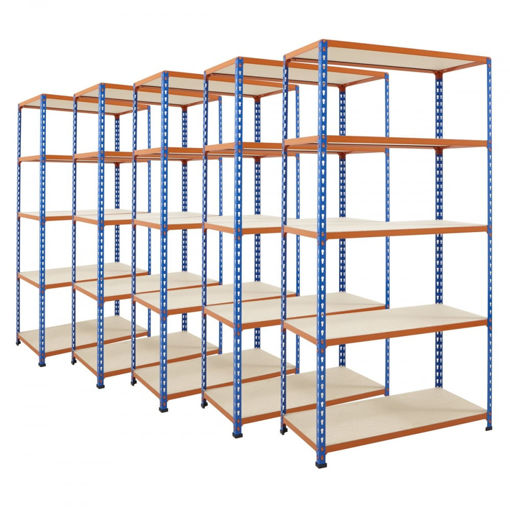 Picture of Super Saver - 5X Garage 5 Tier Chipboard Shelving Units